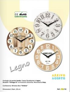 WALL CLOCK FRAMELESS 28CM 1123/22
