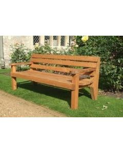 WOODEN 3 SEAT BENCH WITH ARMS