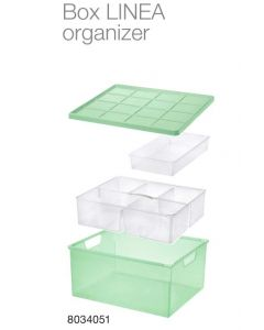 Storage box Linea 13,8L WITH LID, ORGANIZER AND SLIDING TRAY