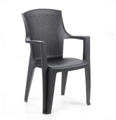 RATTAN FINISH STACKABLE ARMCHAIR EDEN MOCHA