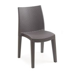 Lady stackable rattan style chair Mocha