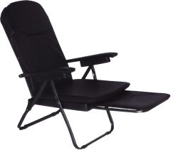 FOLDING CHAIR WITH FOOTREST BLACK