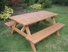 WOODEN A-FRAME PICNIC BENCH – 6 SEATER