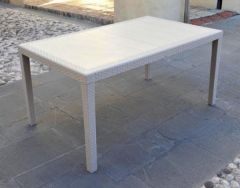 Rattan style plastic table Prince White